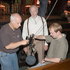 Joseph (Joe) Grado watches on as South Carolina ETV and Radio Network audio engineers Skip Beach and Evan Hill ready the 3D-7 holographic microphone for recording the Chamber Music series at the Dock Street Theater as a part of Spoleto Festival USA 2007. <br /> May 25, 2007<br /> <br /> ~ Image by Martin McKenzie ~