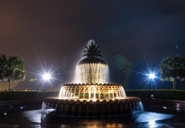 Pineapple Fountain at Night
