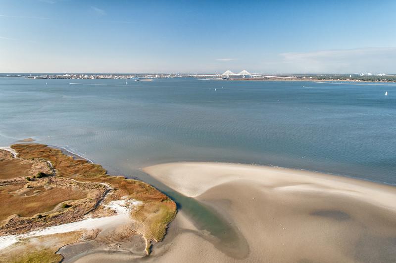 Eastern tip of Morris Island and Charleston harbor