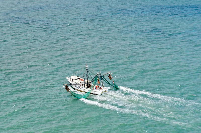 Shrimp trawler and seagulls
