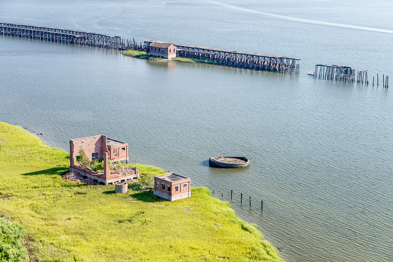 Ruins of Brick Building and old Coal Tipple, Cooper River