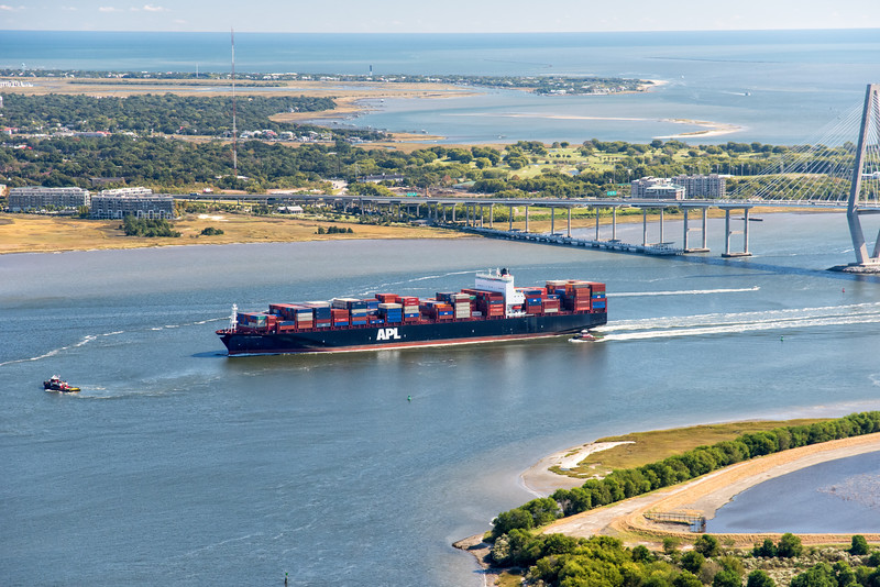 Container shipping entering Port of Charleston