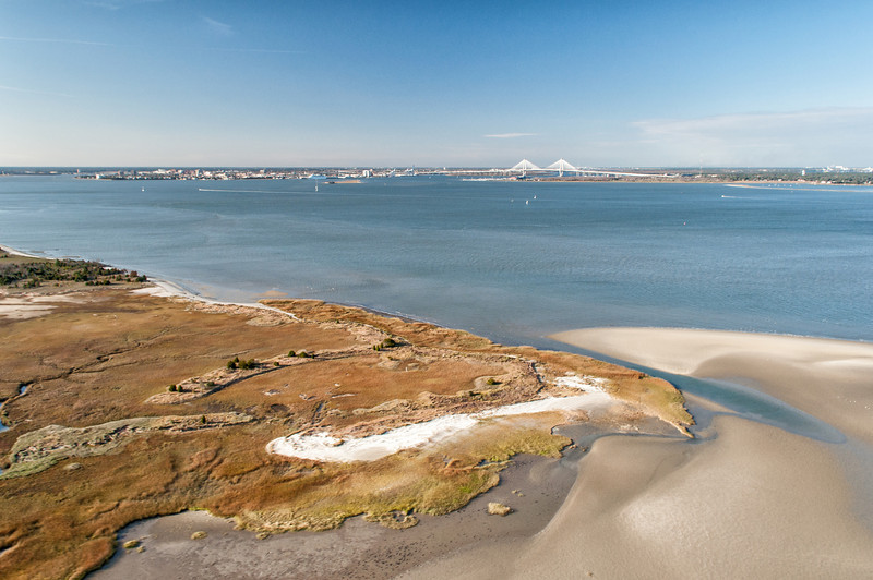 Eastern tip of Morris Island and Charleston harbor