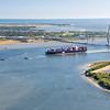 Container ship entering port of Charleston