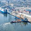 Tug assisting ship in Charleston port