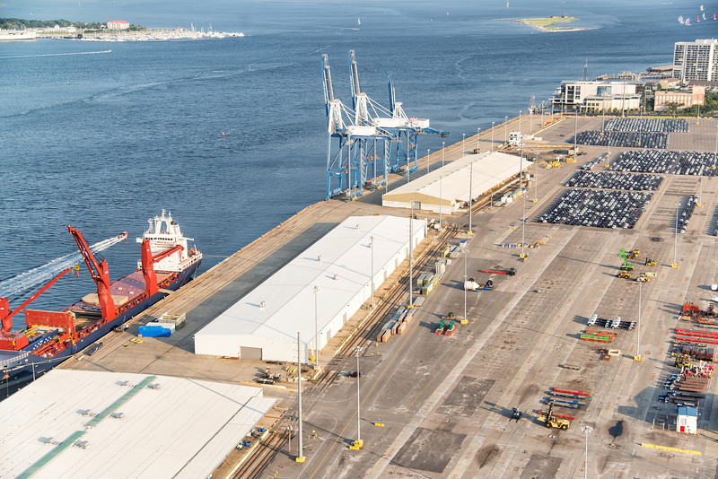 Commercial shipping activity at the Port of Charleston