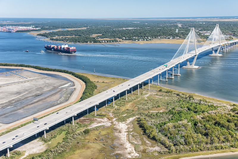 Container ship heading for port of Charleston