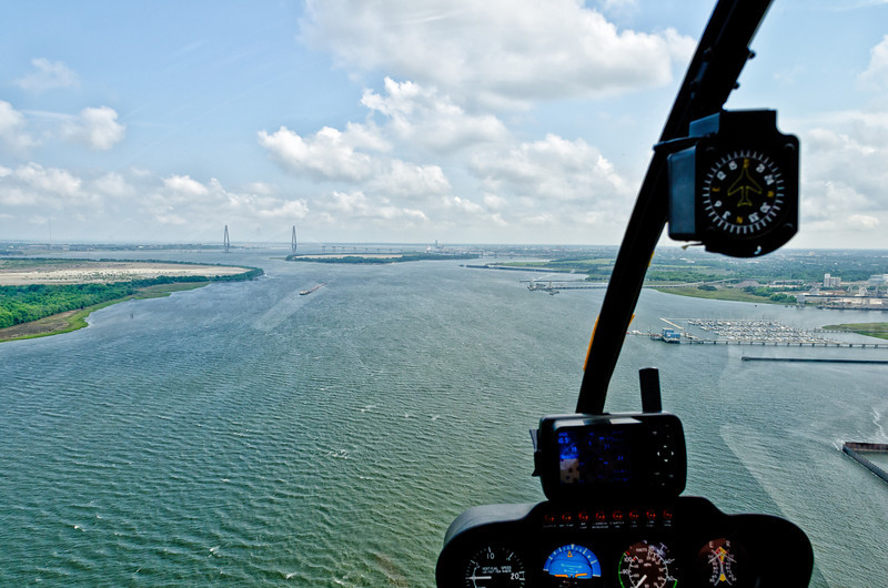R22 Chopper and Charleston harbor