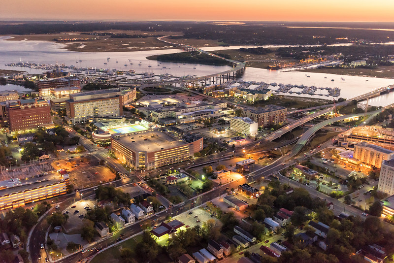 Crosstown, hospitals, and the Ashley River in the evening