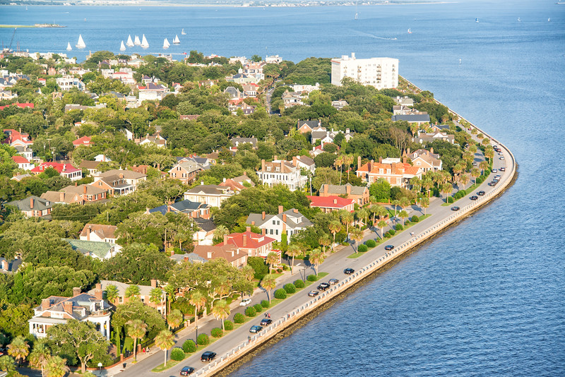 Murray Boulevard, Ashley River and the Charleston harbor