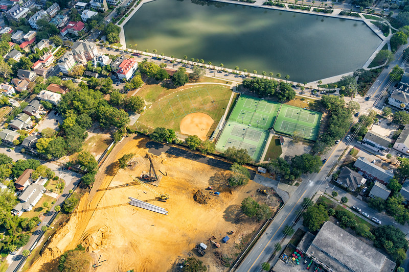 The Jasper Apartments Construction Site and Colonial Lake