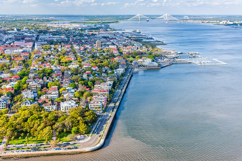 White Point Gardens, Charleston Battery and harbor