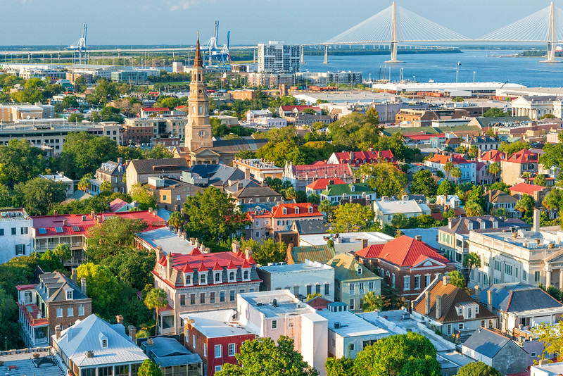 Aerial of historic downtown Charleston, SC