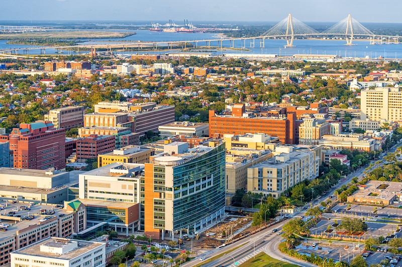 MUSC Shawn Jenkins Children's Hospital and downtown area