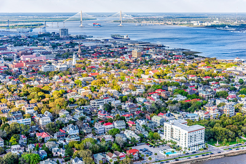 Downtown Charleston peninsula and the Ravenel Bridge