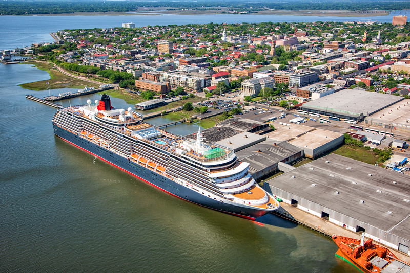 Cunard Line Cruise ship tied up in charleston port