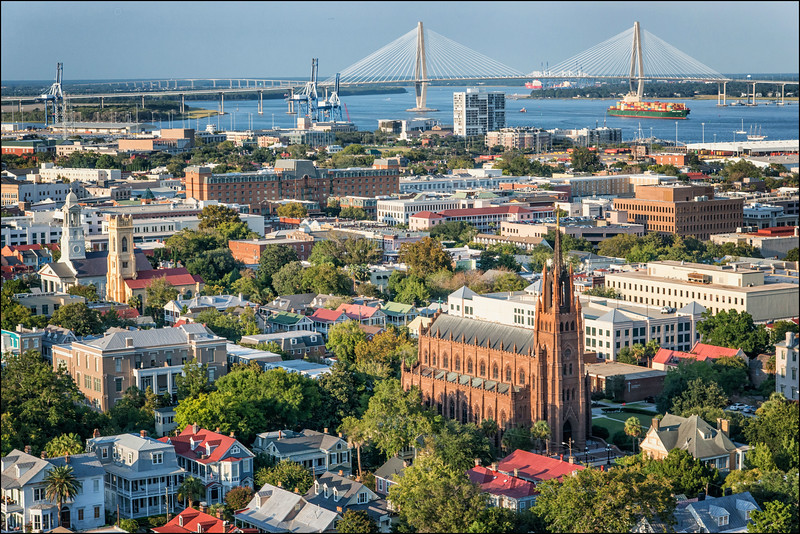 Aerial view of charleston with Cathedral of St. John the Baptist in the foreground