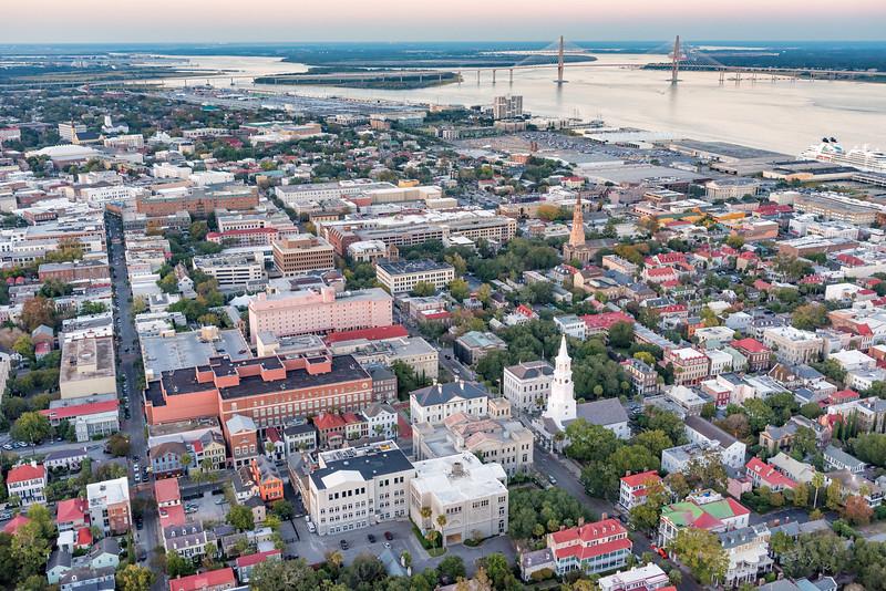 Twilight over downtown Charleston and the Charleston Harbor