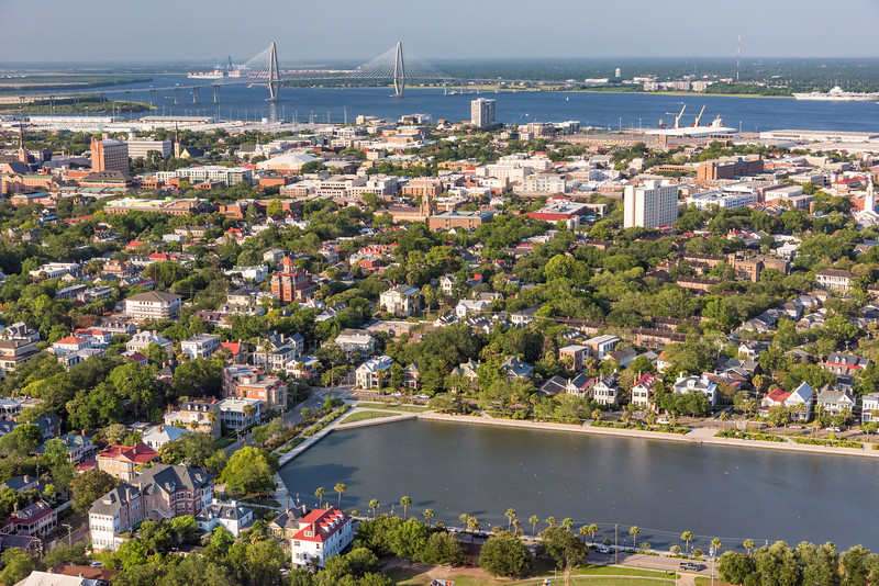 Colonial Lake and downtown historic Charleston