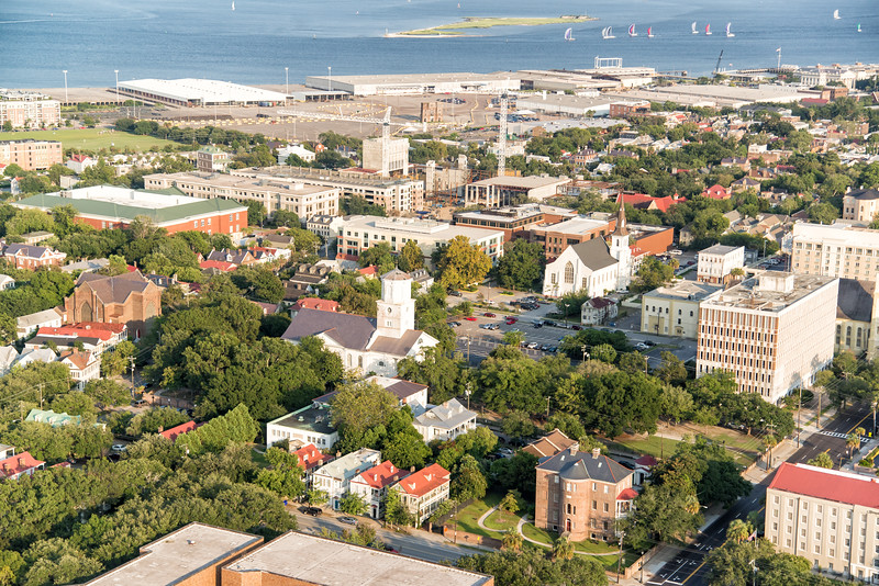 Downtown Charleston, the harbor, and Castle Pinckney