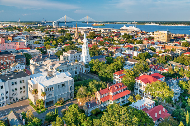Aerial view of Charleston, SC