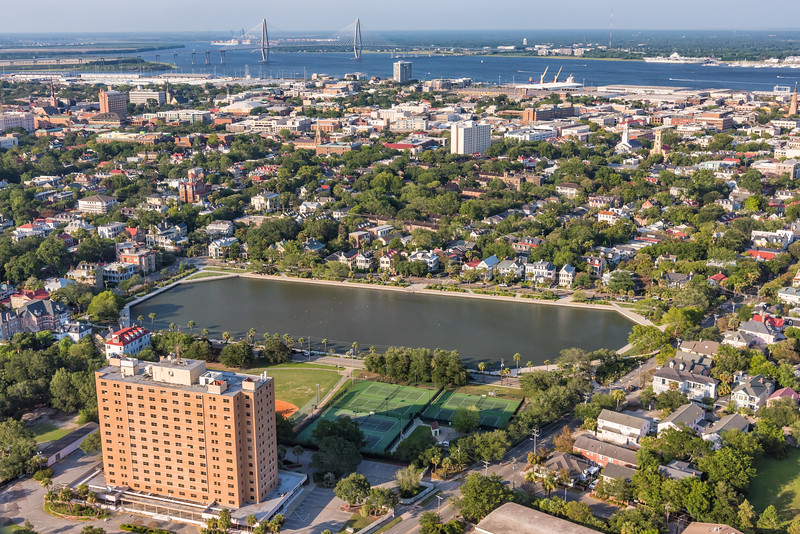 Sergeant Jasper Building, Colonial Lake and downtown Charleston