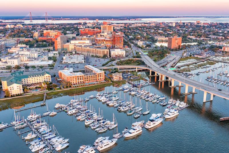 Courtyard Marriott, Hilton Garden Inn, and the Harborage at Ashley Marina