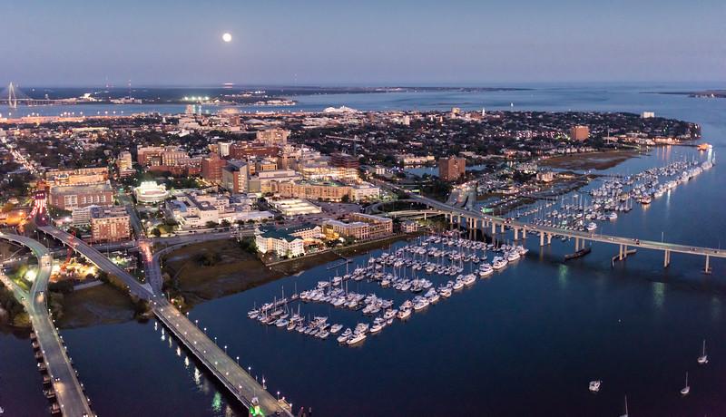 Downtown Charleston Peninsula under a full moon