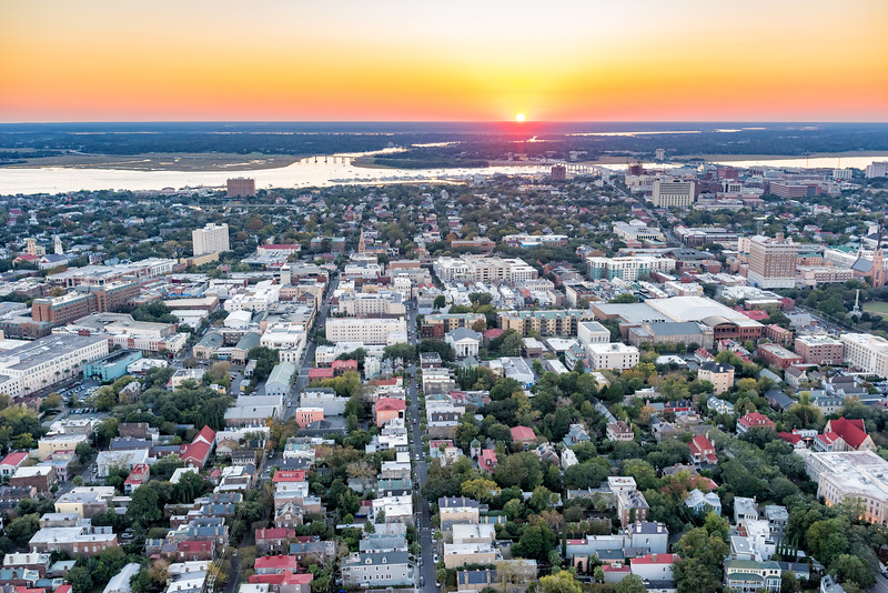 Sunset over downtown historic Charleston and the Ashley River