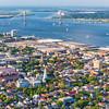 Downtown Historic Charleston and harbor with the Arthur Ravenel Bridge