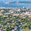 Charleston downtown area and the Arthur Ravenel Bridge