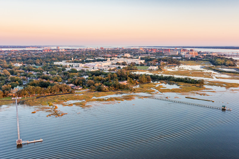 Lowndes Grove Plantation, The Citadel and downtown Charleston at twilight
