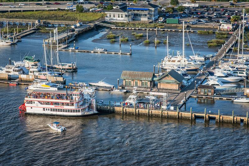 Carolina Girl paddle boat tied up at the City Marina Megadock