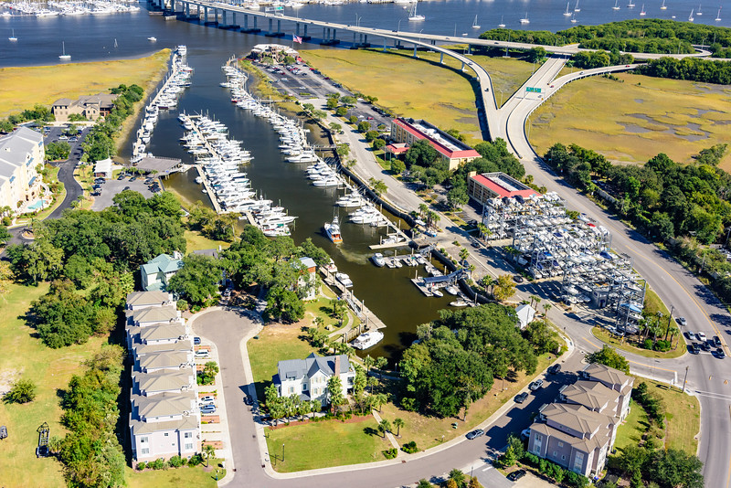 Ripley Light Marina area with James Island Connector and the Ashley River