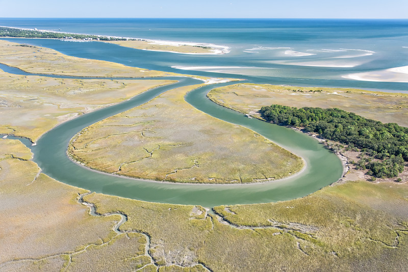 Bass Creek, Kiawah at the Stono Inlet with Folly Island in the distance