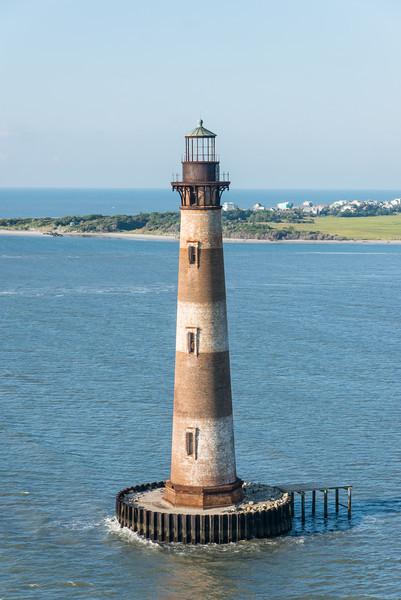 Morris Island Lighthouse and east end of Folly Beach