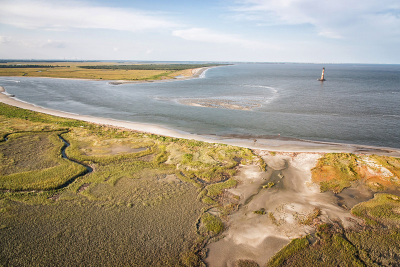Morris Island Lighthouse, Lighthouse Inlet, and eastern tip of Folly Beach