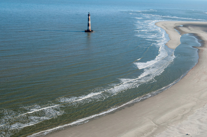 Morris Island Lighthouse and North Eastern tip of Folly Beach