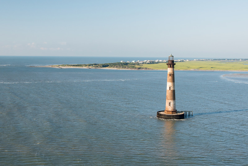 Morris Island Lighthouse, Lighthouse Inlet and the eastern tip of Folly Beach