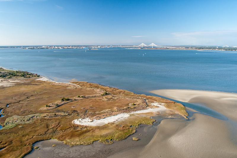 Tip of Morris Island with Arthur Ravenel Bridge in the distance