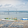 Port of Charleston with the Arthur Ravenel Bridge and Cooper River