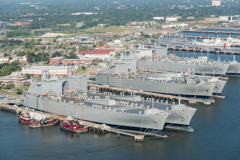 Moran Towing, MARAD ships, and North Charleston shipyard, Cooper River
