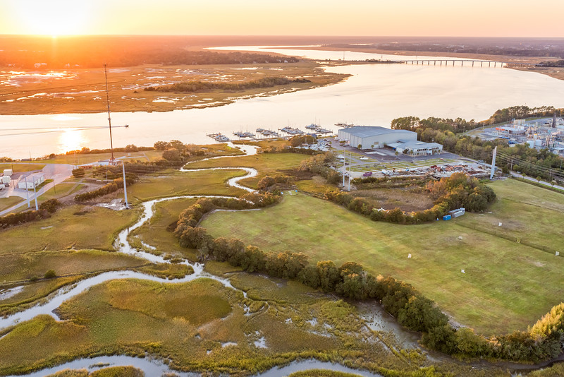 Dolphin Cove Marina and the Ashley River at sunset