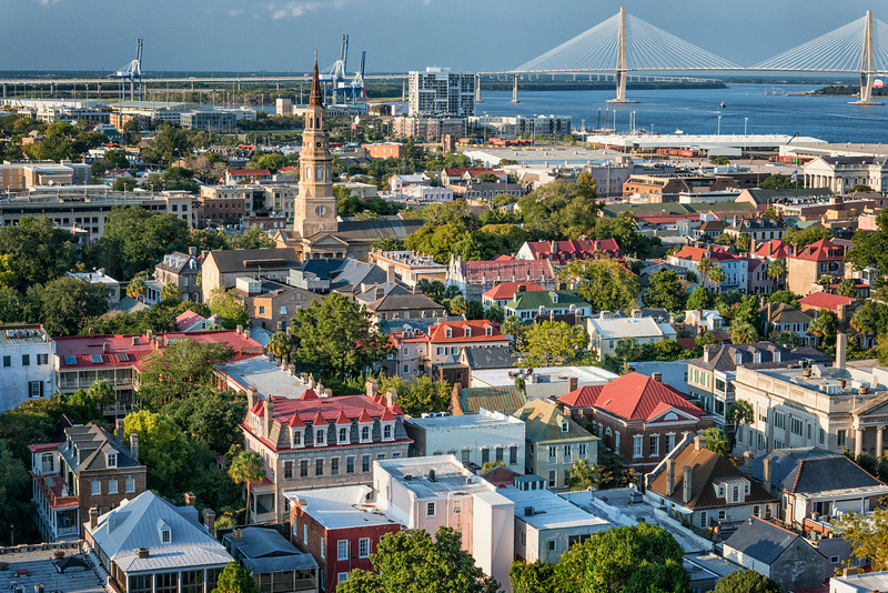 Aerial of historic Charleston skyline with the Ravenel Bridge