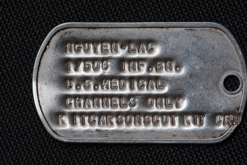 Le Van Sau dogtag.  Richard Hahn and Sau traded a dogtag forty years ago.