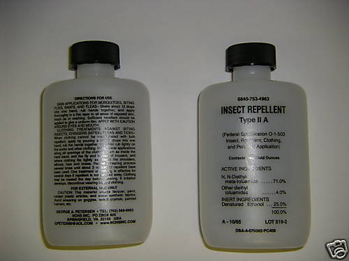 This is a photo from ebay where some enterprising person is selling the bottles for $12.00 each.  The photo is not very clear but it appears that the main ingredient is DEET, or N, N-diethyl-meta-toluamide which was developed by the Army in 1946.
