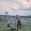 July or August 1969.  Perhaps a staging area near FSB Currahee.  Bill Higgins with the shovel.