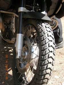 Pic of the front tire... I really like the tread on these tires, a good compromise between knobbies and street tires.