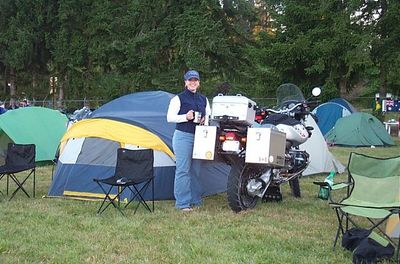 Mandee with the camp in perfect order, coffee in hand, ready for the day.