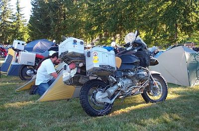 """Our camping neighbor from New York.  Another '04 GS Adv. that has just come from the """"Top of the World"""" Ak. and has not been washed since he left New York."""